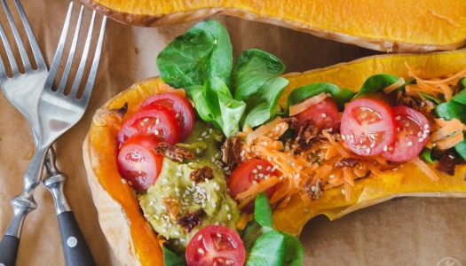 Roasted & Stuffed Butternut Squash with Avocado-Chickpea Cream