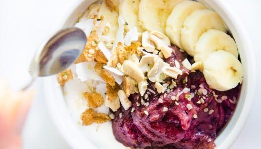Superfood Breakfast Bowl with Soy yogurt & Acai-Berry Cream