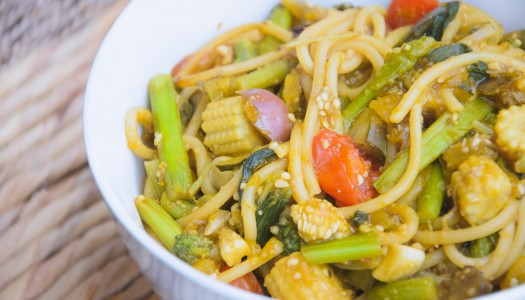 Whole Grain Spaghetti with Mixed Veggies in creamy Soy-Pumpkin Sauce